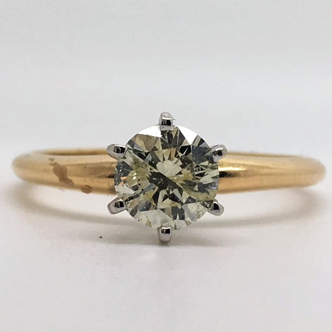 0.70 Carat Round-Cut Six-Prong Solitaire Diamond Engagement Ring in 14k Yellow Gold