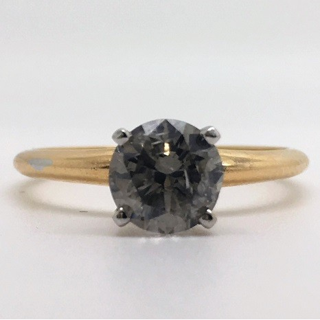 1.01 Carat Fancy Gray Round-Cut Four-Prong Solitaire Diamond Engagement Ring in 14k Yellow Gold