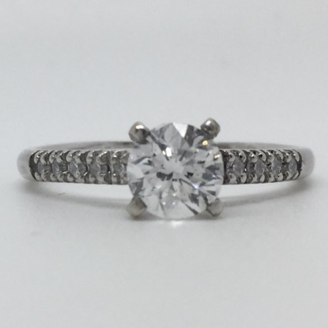 1.15 Carat Round-Cut Four-Prong Solitaire Diamond Engagement Ring in 14k White Gold