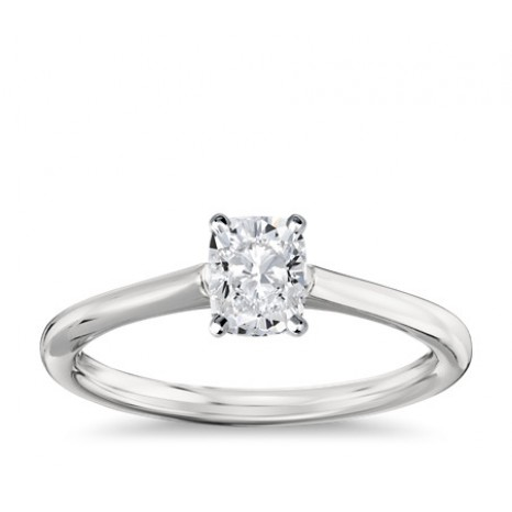 Cushion Cut Solitaire Engagement Ring in 14K White Gold