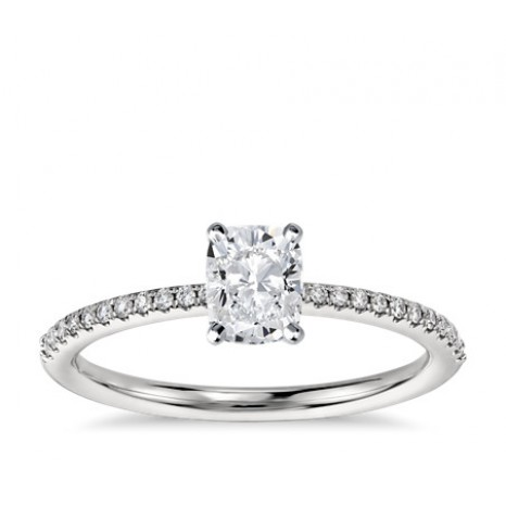 Cushion Cut Pave Engagement Ring in 14K White Gold