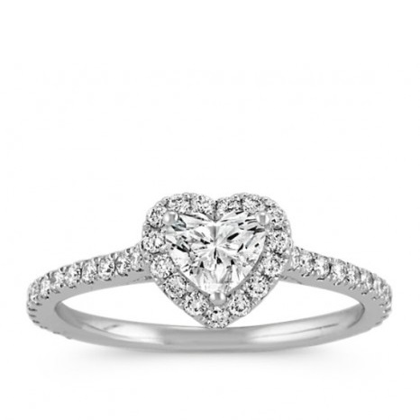 Heart Cut Halo Diamond Engagement Ring in 14K White Gold