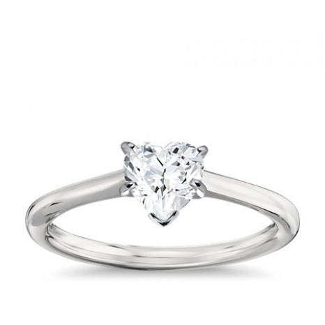 Heart Cut Solitaire Engagement Ring in 14K White Gold
