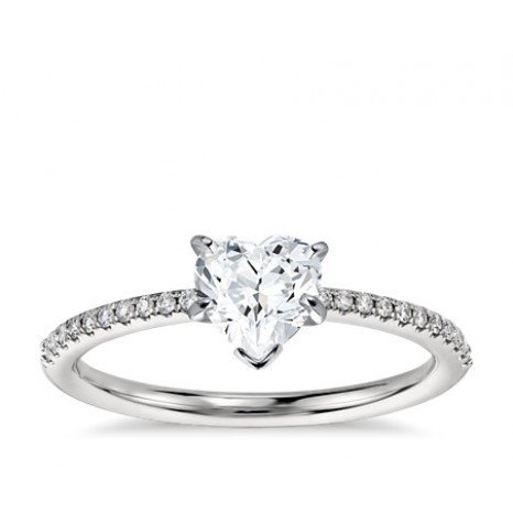 Heart Cut Pave Engagement Ring in 14K White Gold