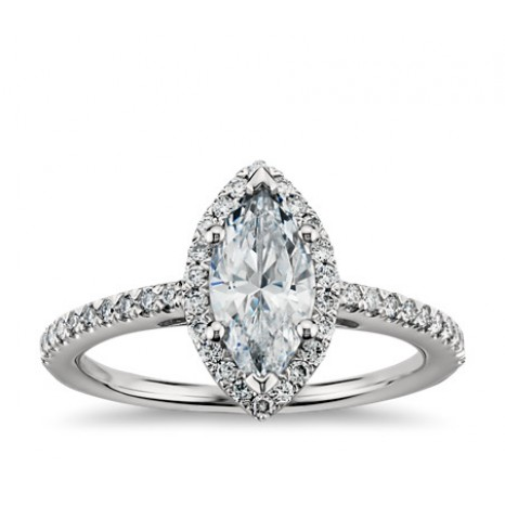 Marquise Cut Halo Diamond Engagement Ring in 14K White Gold
