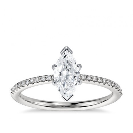 Marquise Cut Pave Engagement Ring in 14K White Gold