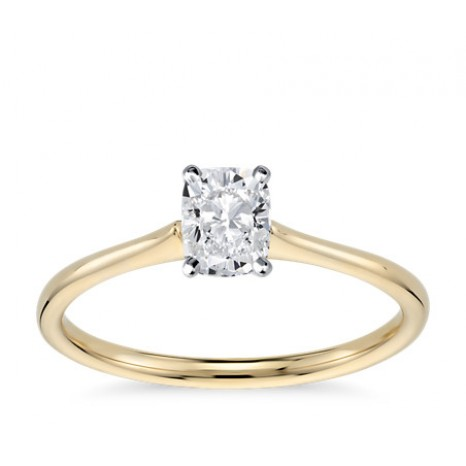 Cushion Cut Solitaire Engagement Ring in 14K Yellow Gold