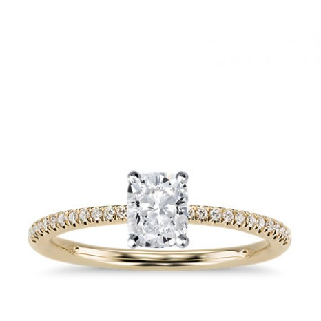 Cushion Cut Pave Engagement Ring in 14K Yellow Gold