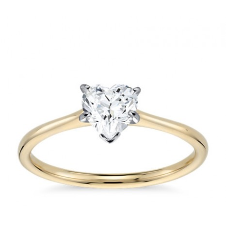 Heart Cut Solitaire Engagement Ring in 14K Yellow Gold