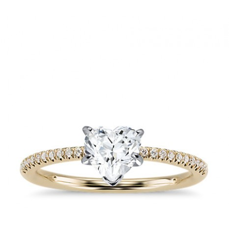 Heart Cut Pave Engagement Ring in 14K Yellow Gold